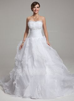 [US$ 228.69] Ball-Gown Scalloped Neck Chapel Train Organza Wedding Dress With Beading Cascading Ruffles Pleated