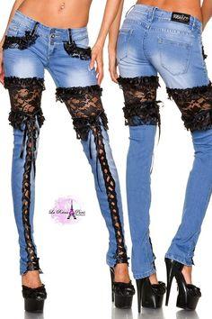 Resultado de imagen para jean dama con encaje