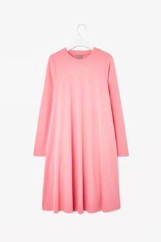 COS image 2 of Dress with ribbed neckline in Pink