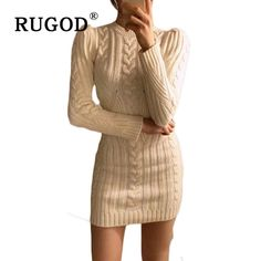 b84d920a89 Spring New Year Casual O Neck Long Knitted Sweater Dress. RUGOD Hot Sale  O-neck Women s ...