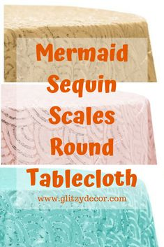 """This uniquely beautiful blush tablecloth with a mermaid-like """"fish scale"""" pattern is perfect for baby showers, bridal showers, and girly birthday parties. Between the sequined taffeta and its beautiful blush color, your tablescape will definitely be one worth remembering! #sequin #mermaidsequin #mermaidscales #decor #babyshower #bridalshower #decorations #glitzydecor Bride Flowers, Bride Bouquets, Bouquet Wedding, Wedding Flowers, Sequin Tablecloth, Round Tablecloth, Bridal Showers, Baby Showers, Ribbon Wedding"""