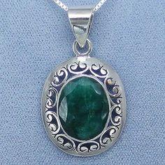 Indian Emerald Jali Filigree Pendant Necklace - Sterling Silver