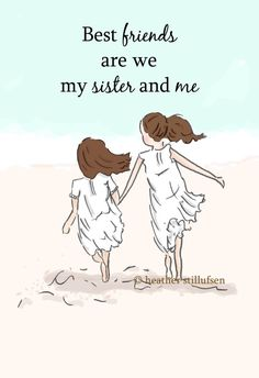 Sister Wall Art Best Friends Are We by RoseHillDesignStudio
