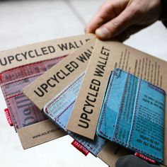 Wallets (by HOLSTEE) made from upcycled plastic bags and newspapers collected from the streets of Delhi, India