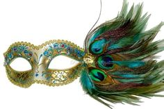 Turquoise Masquerade Mask Pretty Peacock Masquerade Ball Feathered Venetian Mask