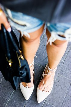 cream lace up flats