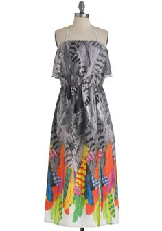 Temple of Plume Dress - Long, Ruffles, Party, Halter, Print, Pockets, Maxi, Summer, Multi, Grey, Neon