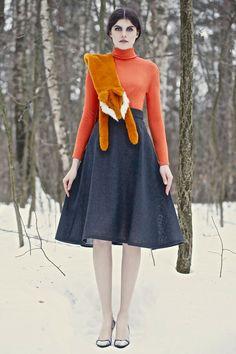vermillion, high neck, full skirt, STUFFED ANIMAL STOLE  #F13RTW #VikaGazinskaya