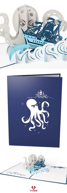 Delight any seafarer with a nautical pop up birthday card of the mythical Kraken and a ship caught in it's grasp. #sailaway #paperart