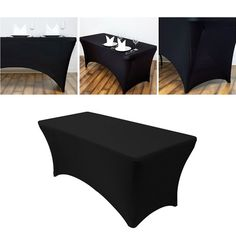 Houseables Black Table Cloths, Fitted Tablecloth Cover, 6 ft, Black, Rectangular Skirts, Polyester/Spandex, Elastic, Stretchable Linen, Stain & Wrinkle Proof, for Folding Tables, Wedding, DJ, Events … Wedding Dj, Wedding Table, Dj Events, Fitted Tablecloths, Folding Tables, Black Table, Polyester Spandex, Cover, Skirts