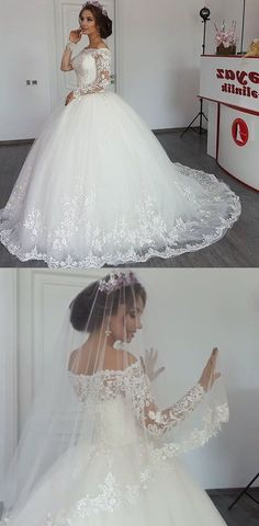 Vintage Long Sleeves Lace Wedding Ball Gown Dresses For Bride 2018