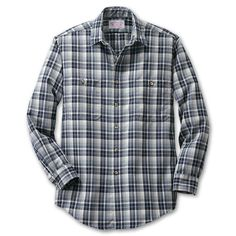San Juan Wool Shirt | Filson - The look of thick flannel in a durable lighterweight 9 oz. wool shirt for easy layering. Tighter yarn weave keeps the cold air out and the warm air in while natural wool keeps you dry. Two front chest pockets with button closure. Double needle construction. Made in USA. Dry clean.