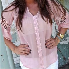 Boutique Pink Sheer Top My prices are negotiable. Make an offer!  Tops Blouses