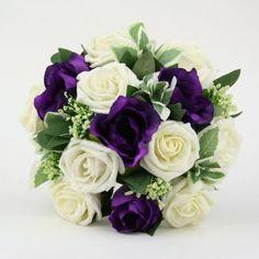 Purple Lisianthus Bouquet | Artificial Silk Wedding Flowers - Purple and Ivory Foam Rose ...