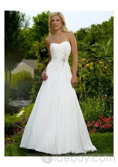 Elegant Sweetheart Rouched Waistilne with A line Skirt Chapel Train Wedding Gown