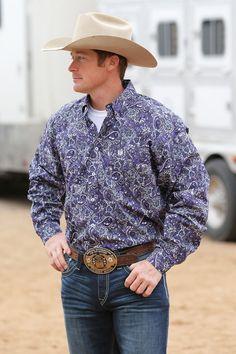 22b4a7b9616 Cinch Men s Purple Paisley Long Sleeve Button Up Western Shirt MTW1104306