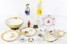 "Lot 313: Herend ""Chinese Bouquet - Raspberry"" Dishes; c.1958 including the teacup, saucer and dessert plate; together with T&V Limoges painted bowl, Doulton Burslem, Pickard and D&C France marked dishes, (5) Copenhagen Denmark children plaques, a marble bust of Gounod, a figural ornament, a French ceramic statue and a Joao Alberte ceramic seated figure"