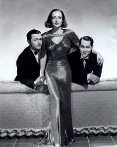 """Robert Young, Joan Crawford and Franchot Tone publicity still for """"The Bride Wore Red"""", 1937 (gown by Adrian)"""