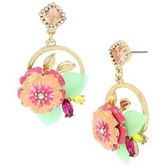 Betsey Johnson Tropical Punch Flower Cluster Round Drop Earrings ($42) ❤ liked on Polyvore featuring jewelry, earrings, neutral, leaf jewelry, leaf earrings, gold tone drop earrings, round earrings and flower jewelry