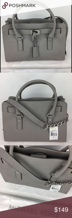 Michael Kors Gray Medium Hamilton Satchel Condition: New with Tags and Dust Bag. Missing MK Lock.  Grey Saffiano Leather Exterior, Silver Hardware, MK Key, Magnetic Snap Closure, Protective Feet, Lined Interior, 5 Interior Pockets (1 zip, 4 open), Dimensions: 10 H X 12 W X 4.5 D. Only selling what is shown in the photos.   Thank you for your interest! No Trades. Michael Kors Bags Satchels