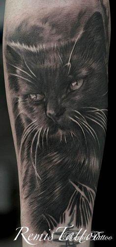 tattoo black cat  | ... • Tattoo Gallery • Black And Grey • Black White Cat Tattoo