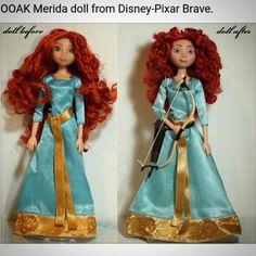 A before and after shot of my repainted and restyled Merida doll. #disneydoll #merida #disneybrave #disneyprincess #dollrepaint #disneyarts #officialdisneyart
