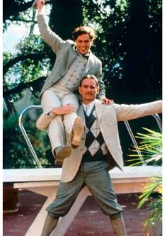 Robert Downey Jr as Charlie Chaplin and Kevin Kline as Douglas Fairbanks Sr in Chaplin c.1992