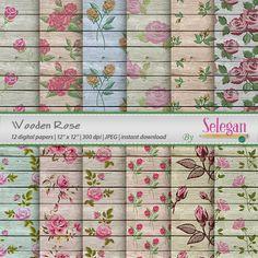 "wooden roses ""Wooden Rose"" digital scrapbook paper 12 inch wood rose flower blossom garden printable paper background instant download by Selegan on Etsy"