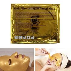 Gold Bio Collagen Facial Face Mask High Moisture Anti-Aging Remove Wrinkle Care #Unbranded