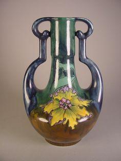 Old Moravian Floral Vintage Pottery Vase Art Nouveau Arts Crafts   eBay