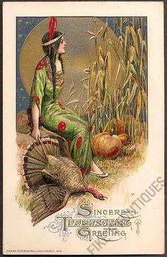Vintage Thanksgiving postcard by Samuel Schmucker, 1912. Indian maiden with moon, pumpkins, corn and turkey