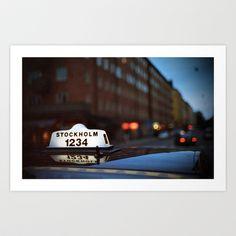 Stockholm Taxi Night Art Print by World Traveler - $24.99