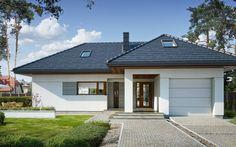 Współczesny projekt z użytkowym poddaszem i garażem jednostanowiskowym. Bungalow House Design, Dream House Plans, Design Case, Home Fashion, Architecture Design, Sweet Home, Yard, Mansions, House Styles
