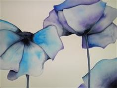 Discover Original Art for Sale Online at UGallery | Blue Poppy 2 watercolor painting by Cathe Hendrick