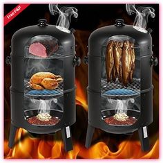 Charcoal Smoker Barrel Patio Barbecue Grill BBQ Fish Air Vent Heat Temp Lid Bowl