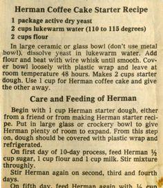 Herman friendship cake bread recipe