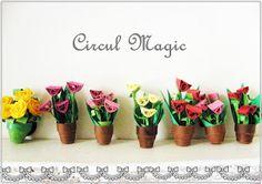 Circul Magic Shop: Quilling Miniature: Lalele in ghiveci (magnet)