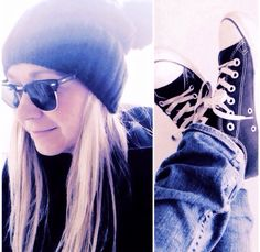 All stars, beanie, ray-ban simple things shredded jeans