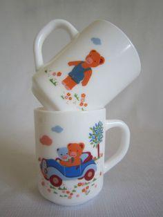 2 Vintage Arcopal France Mugs French Teddy Bear Children's Baby Feeding Cups