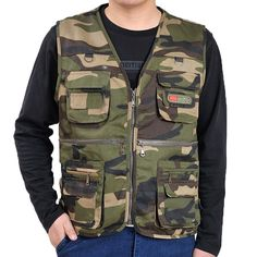 Sale 22% (17.64$) - Multi-pocket Fishing Photography Double Layers Functional Outdoor Work Vest for Men