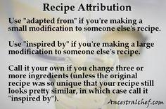 Attribution of Recipes