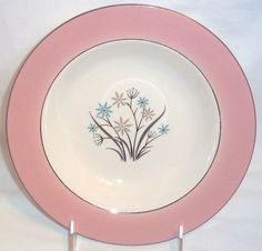 "Set of 6 Homer Laughlin Salad Bowls, Dark Pastel Pink w/Floral Design,  8 1/4"" #HomerLaughlin"