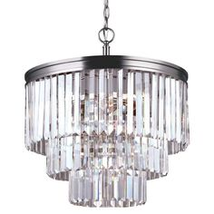 Sea Gull Lighting 3114004 Carondelet 4 Light 3 Tier Chandelier Antique Brushed Nickel Indoor Chandeliers Restoration Hardware