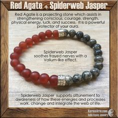 KEEP CALM: Spiderweb Jasper + Red Agate Yoga Mala Bead Bracelet