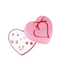 Make this Valentine's Day,or any day, unforgettable! This set includes five pairs of love-inspired studs, set in goldtone including heart, arrow and lock pairs. Complete the love-inspired look with the Hearts a Flutter Necklace. Get your set today online at www.youravon.com/my1724 or by clicking on the pin!!