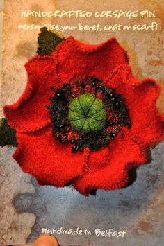 wool corsage red black green poppy brooch flower dress pin 12 cm remembrance day