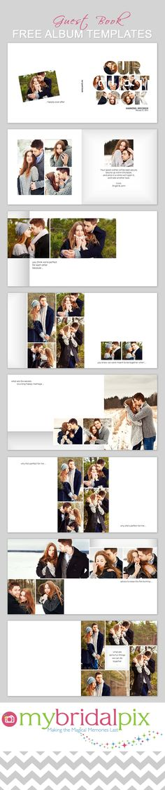 Wedding guest book idea - #guestbook #wedding. Free DIY wedding guest book templates at My Bridal Pix. Make a pro quality guest reception book in minutes using our free book making tools and templates. www.mybridalpix.com