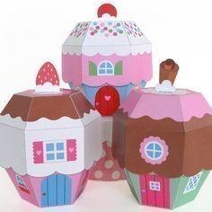 Cupcake Cottage Favor Box Printable Paper Craft PDF 4.00$