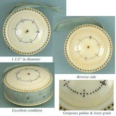Antique Ivory Madras Work Pin Cushion / Disc * C1800