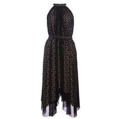 Saloni Iris Printed Sleeveless Dress ($495) ❤ liked on Polyvore featuring dresses, retro dress, geo dress, retro-style dresses, geometric dress and geo print dress
